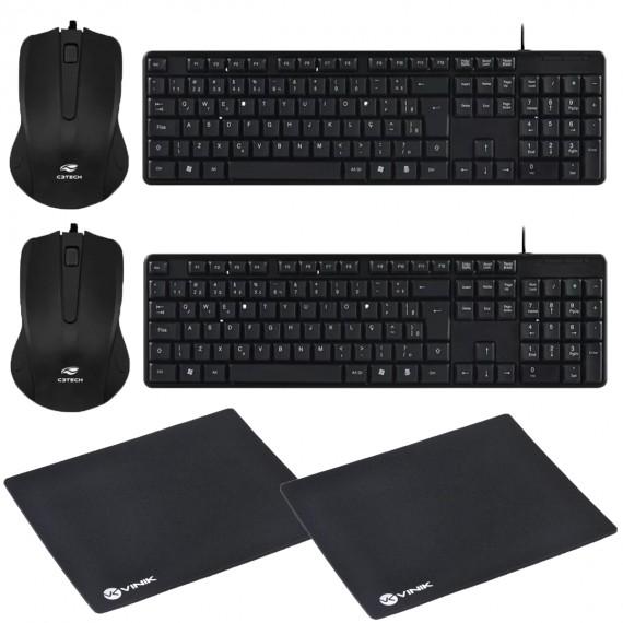 2 Kits Mouse e Teclado Mousepad Usb Ultra Resistente Pto C3T