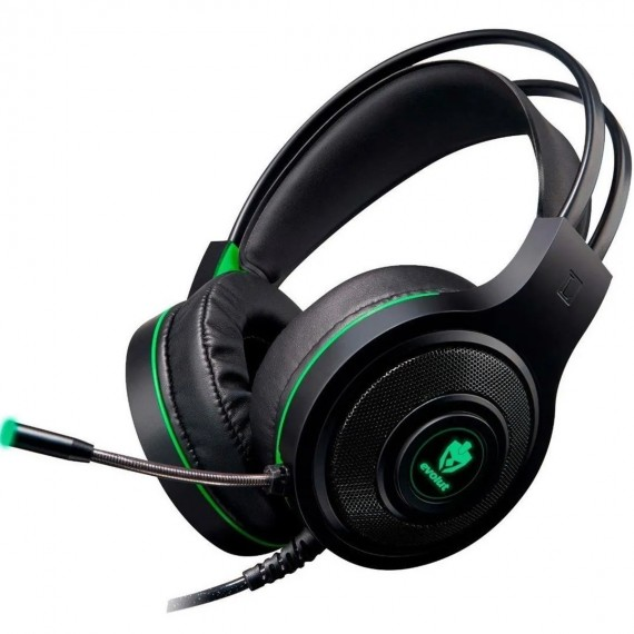 Fone de ouvido gamer Evolut Têmis EG301 preto e verde c/ LED