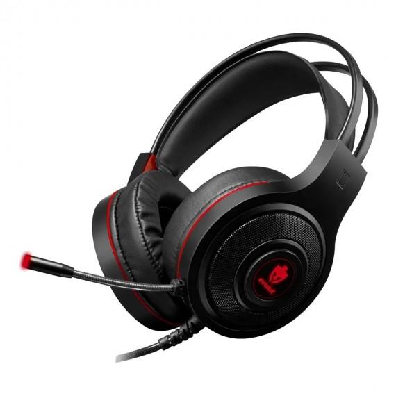 Fone de ouvido gamer Evolut Têmis EG301 preto/vermelho c LED