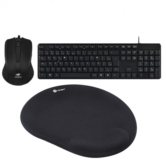 Kit Mouse e Teclado Mousepad GEL USB C3tech Ultra Resistente