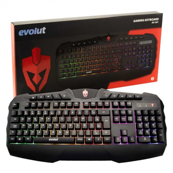 Teclado Gamer Evolut EG-201 USB Blacklight Color Mult. Preto