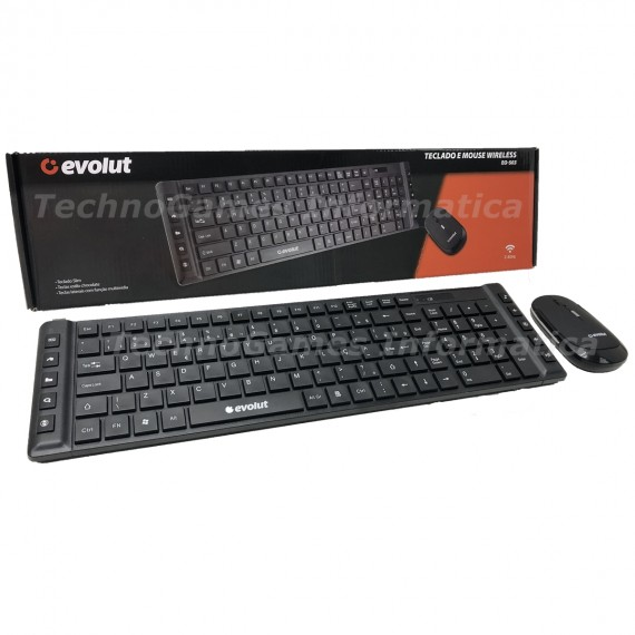 Kit Teclado E Mouse S/ Fio 2.4ghz Wireless Multimídia EO503