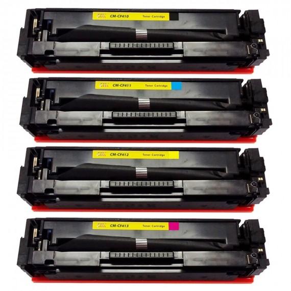 Kit 4 Toner Compatível Cf410a Cf411a Cf412a Cf413a M452 M477