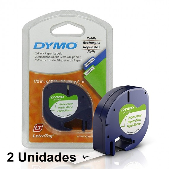 2 Fita Rotulador Dymo Letratag Papel Branca 12mm 91200 10697