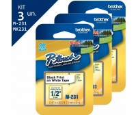 Kit 3 Fita Rotulador Brother M231 12mm Preto/branco Original