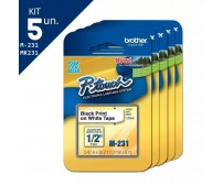 Kit 5 Fita Rotulador Brother M231 12mm Preto/branco Original