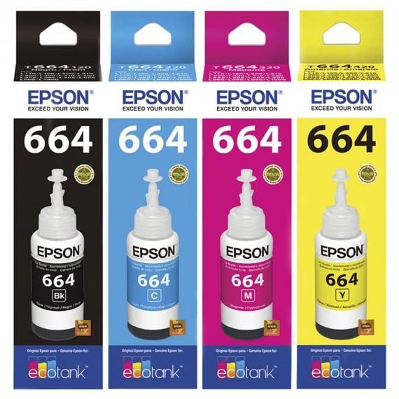 Kit Refil 4 Tintas Epson L220 L375 L355 L395 L365 L455 L380