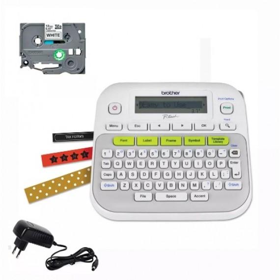 Rotulador Brother Pt-d210 1 Fita 1 Fonte Compatível